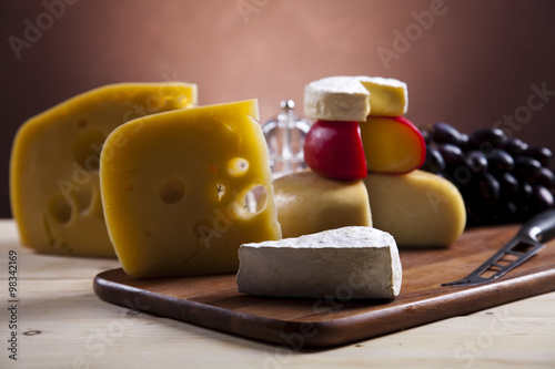 Poster Dairy products Still-life with cheese, saturated ambient rural theme