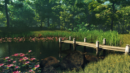 Obraz Forest Pond, 3d CG