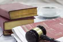 Law Concept, Gavel, Newspaper And Cup Of Coffee