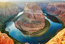 Horseshoe Bend, Sunset In The Colorado Canyon