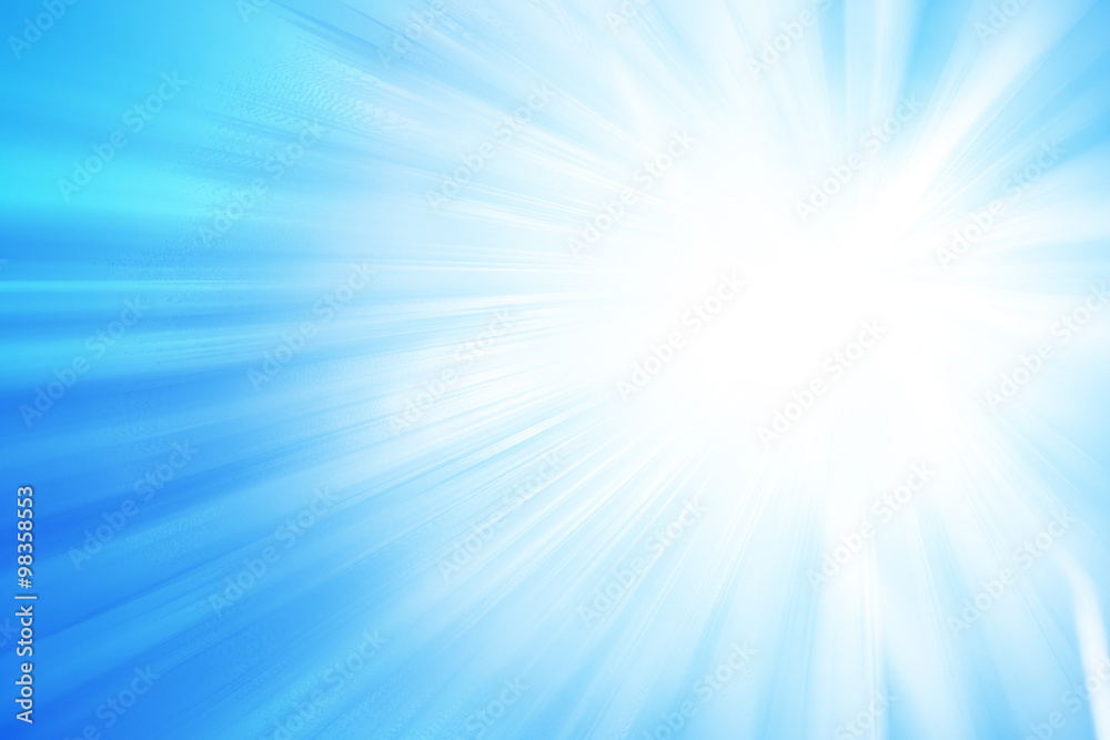 Fototapety, obrazy: Blue glitter sparkle defocused rays lights abstract background.