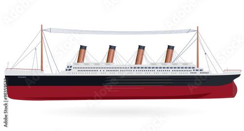 Titanic – legendary colossal boat – monumental big ship – symbol icon flatten is Wallpaper Mural