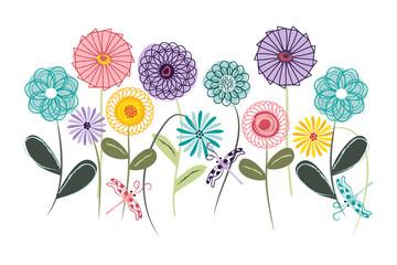 Fototapeta Do gabinetu lekarskiego/szpitala Wall art, nursery or children's room art. Kids decor. Whimsical spirograph flower garden with dragonflies.