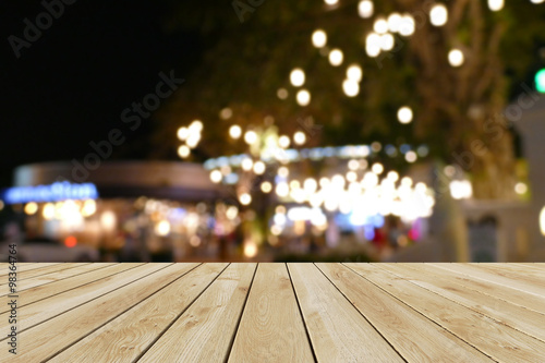 Fototapety, obrazy: Perspective wood and bokeh light background