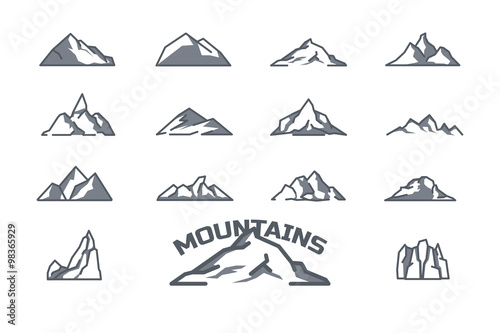 Valokuvatapetti mountain icons set. Line art. Stock vector.