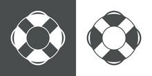 Logotipo Salvamento. Icono Anillo Salvavidas En Fondo Gris Y Fondo Blanco