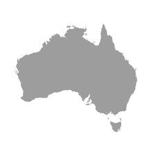 Australia Map Grey Colored On ...