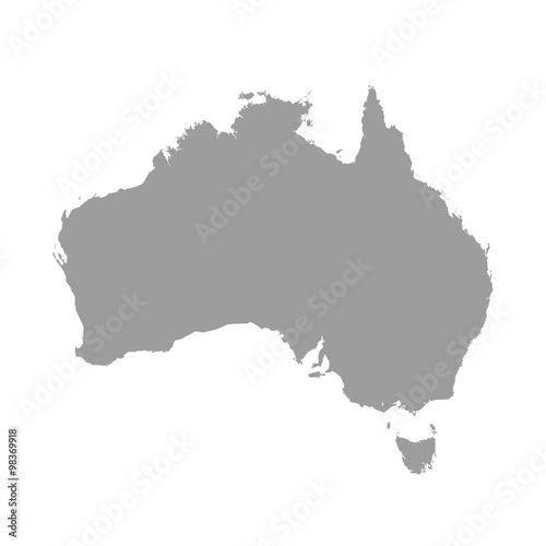 Fotografie, Obraz Australia map grey colored on a white background