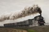 vintage black steam train - 98370322