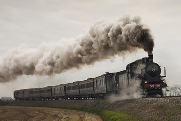 vintage black steam train