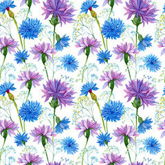 Fototapetaseamless pattern. watercolor blue flowers