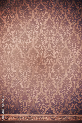 Foto op Plexiglas Retro Brown interior of vintage room with pattern elements