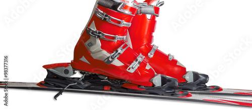 Poster Wintersporten Alpine ski boots in ski binding closeup