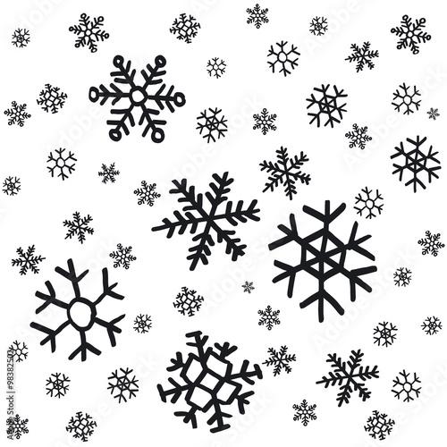 Stoffe zum Nähen Hand gezeichnet Schneeflocken Weihnachtsschmuck hergestellt aus dekorativen Schneeflocken Skizze Vektorgrafik Weihnachten Hintergrund mit grauen Schneeflocken auf weißem Hintergrund