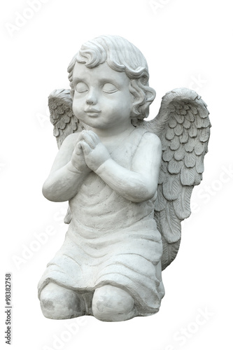 Cupid sculpture isolated on white background Fototapeta