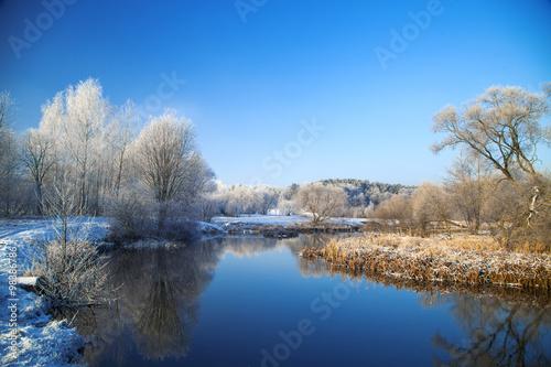 Foto op Aluminium Blauw Picturesque scenery of winter.