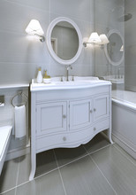White Art Deco Styled Sink Con...