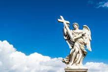 Beautiful Angel With Cross In The Bridge Of Saint Angelo Castle, Rome