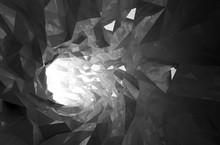 Abstract Shining Black Crystal Digital Tunnel 3d