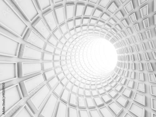 Turning white tunnel interior, 3d illustration