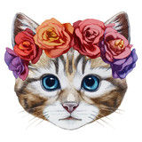 Portrait of Cat with floral head wreath. Hand-drawn illustration, digitally colored. - 98390132