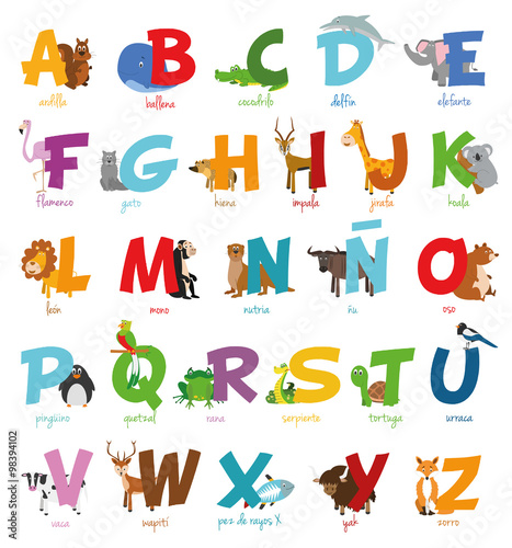 Ulstración de vector Alfabeto ilustrado con animales para niños. Abecedario español. Aprender a leer.