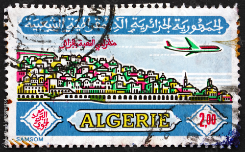 Wall Murals Algeria Postage stamp Algeria 1971 Plane over Casbah, Algiers