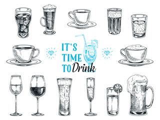 Fototapeta Vector hand drawn illustration with drinks.