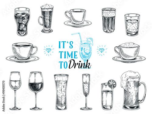 Leinwand Poster Gezeichnete Illustration des Vektors Hand mit Getränken.
