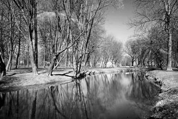 Obraz na Szkle Czarno-Biały Autumn river landscape.