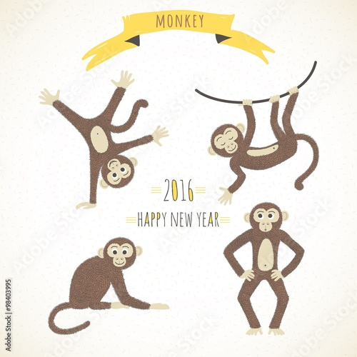 set of cute funny monkeys in a cartoon style symbol of the 2016
