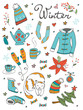 Amazing collection of hand drawn winter related graphic elements