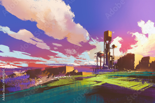 rural landscape with little houses and field under colorful sky,illustration painting
