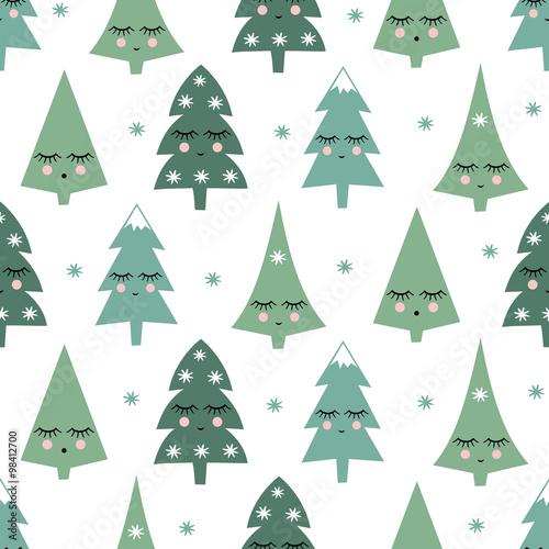 Stoffe zum Nähen Nahtlose Muster mit lächelnden schlafenden Xmas Bäume und Schneeflocken. Happy New Year Hintergrund. Niedliche Vektor-Design für einen Winterurlaub auf weißem Hintergrund. Kind Zeichnung Stil Winterbäume.