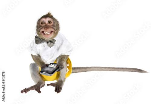 Staande foto Aap A monkey with a cell phone, which cut off the key, showing his teeth