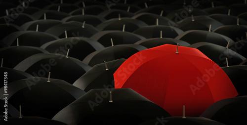 Fototapety, obrazy: red umbrella in blacks