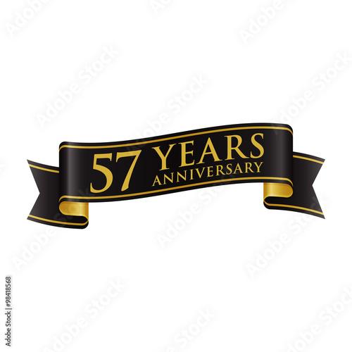 Fotografie, Obraz  Simple Black Gold Ribbon Anniversary Logo 57
