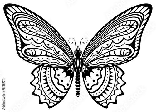 Fotografie, Obraz  Vector illustration of a stylized, decorative black and white butterfly