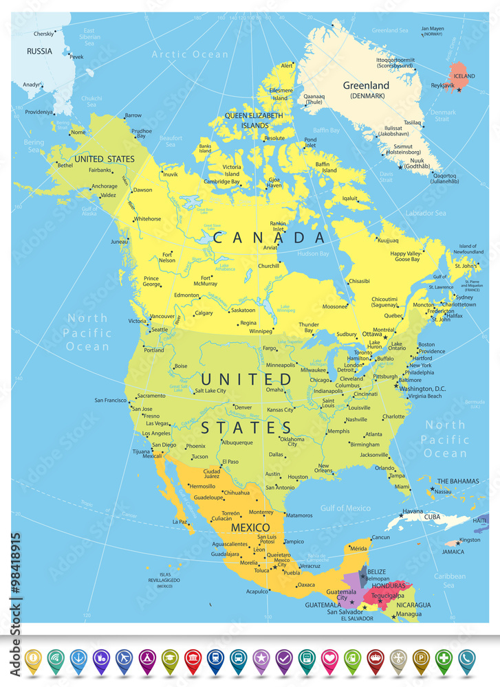 North America Detailed Political Map with Navigation Icons ...