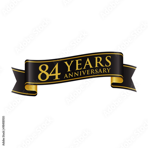 Fotografia  Simple Black Gold Ribbon Anniversary Logo 84