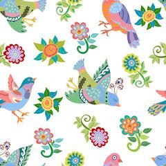 Seamless pattern with folk birds
