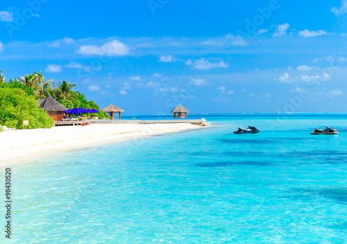 Poster Turquoise tropical beach in Maldives
