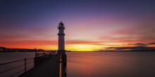 UK, Scotland, Edinburgh, Newhaven Harbour With Lighthouse At Sunset