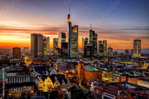 Foto-Kassettenrollo premium - Frankfurt am Main at night, Germany