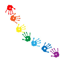 Abstract Pattern Of Colors Of The Rainbow Handprints