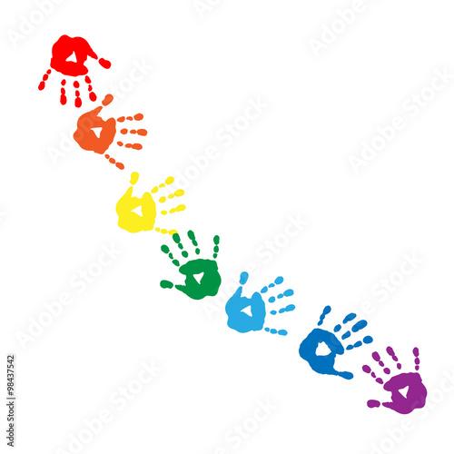 Valokuva  Abstract pattern of colors of the rainbow handprints