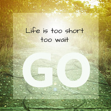 Inspirational Quote : Life Is Too Short To Wait ,go.