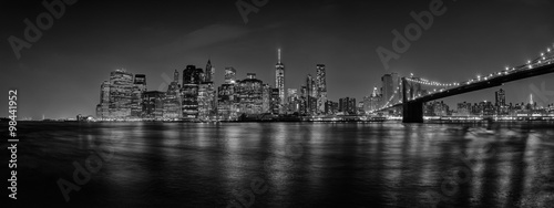 Fototapety, obrazy: New York manhattan bridge night view