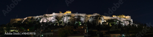 Recess Fitting Athens Night panorama of the Athens, Greece Acropolis with the Parthenon and other ancient ruins illuminated