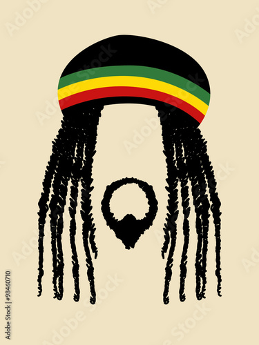 Foto  Face symbol of a man with dreadlocks hairstyle